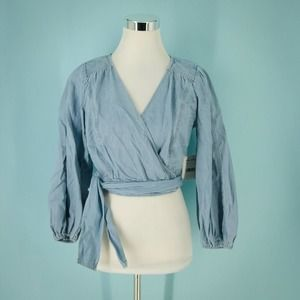 Free People S Sophie Denim Chambray Wrap Top  NWT